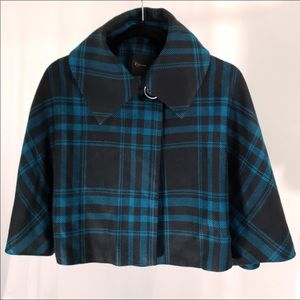 Express Black and Teal Plaid Cropped Swing Coat